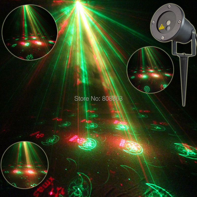 R&G Outdoor Holiday Waterproof Laser Lighting 12 Christmas Patterns Projector Party Landscape party Tree Garden Xmas Light b181
