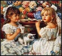 Ricamo per il ricamo diy francese dmc di alta qualità contati punto croce kit 14 ct della pittura a olio di tea party