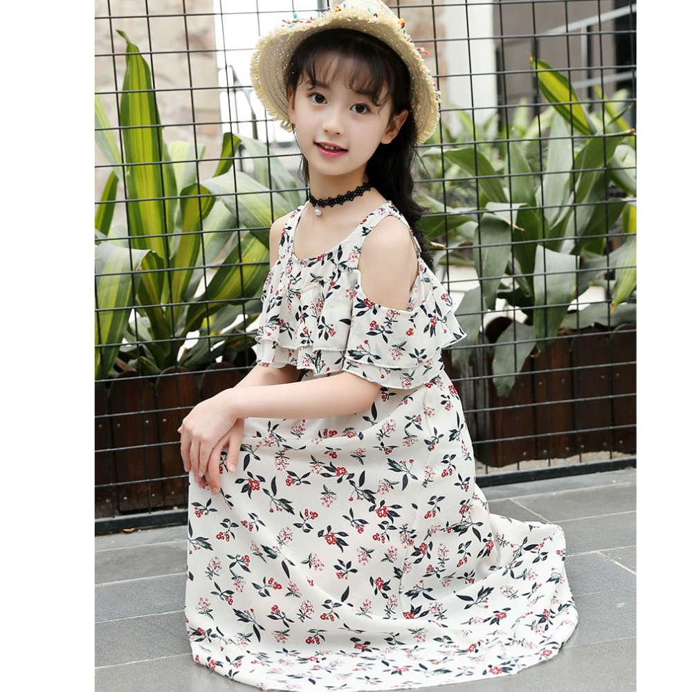 fc750df14f8a Summer Dress For Girls Bohemia Style Girls Beach Dress Kids Off Shoulder Girls  Dresses Teenage Girls