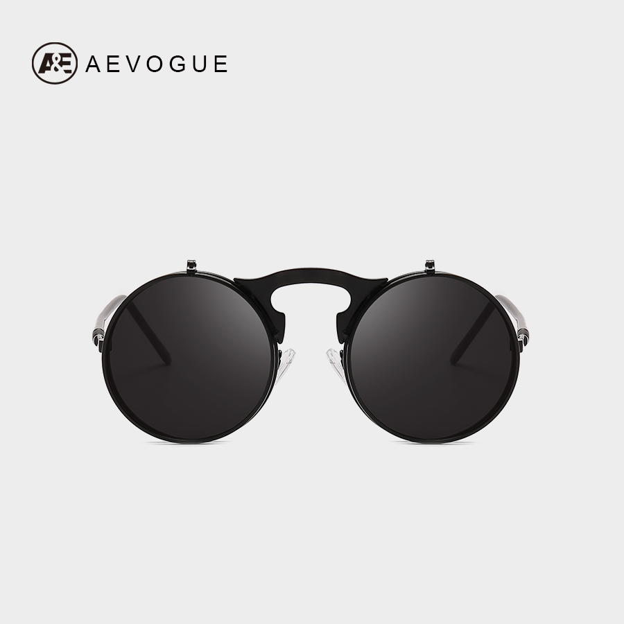 AEVOGUE Vintage Steampunk Sunglasses Mens Flip Up Round Steampunk Double Layer Clamshell UV400 Unisex AE0680