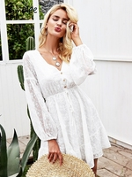 Simplee V neck lantern sleeve mini dress Elegant lace up button women dress Sexy mesh summer autumn robe femme ete 2018