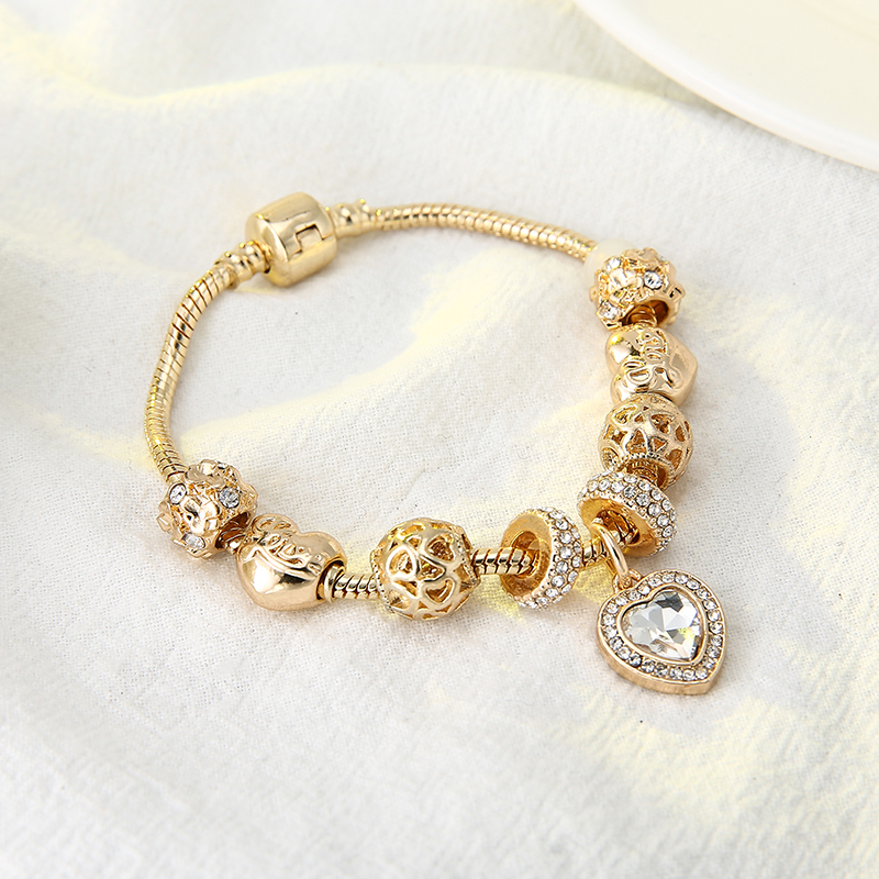 HOMOD Luxury Crystal Love Heart Charm Bracelets & Bangles Gold Color Pandora Bracelets For Women Jewellery Pulseira Feminina