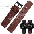 Calidad de cuero genuino correa de reloj 22*15mm para garmin 220/235/620/630/735xt para hombre negro relojes inteligentes accesorios