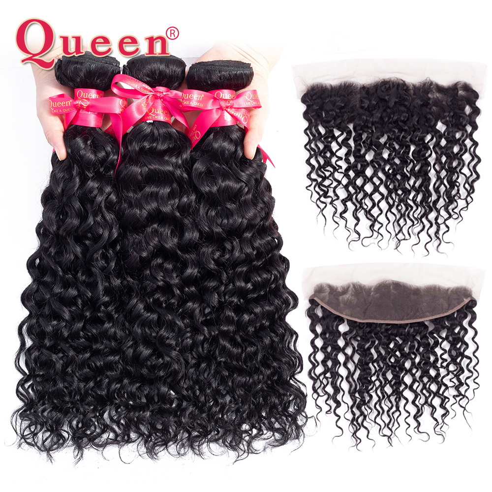 Queen Hair Water Wave 3 Bundles With Frontal Closure Brazilian Remy Human Hair Weave 13x 4