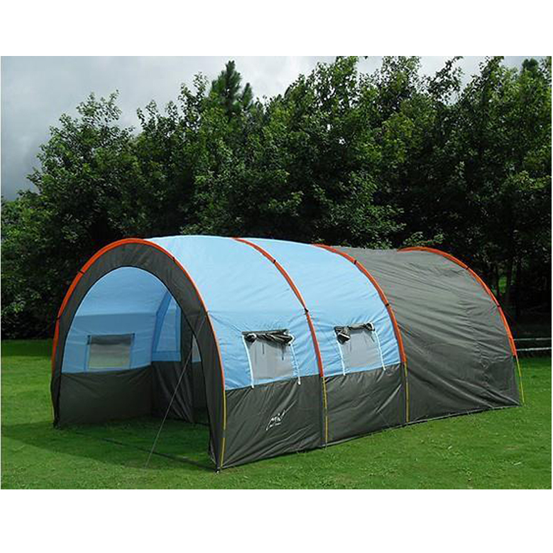Large Camping Tent 6 Waterproof Canvas Fiberglass 5-8 People Tunnel 10 Person Tents equipment outdoor mountaineering family tent