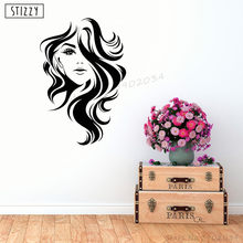 STIZZY Wall Decal Modern Girl Beauty Hair Salon Wall Stickers Fashion Barbershop Window Logo Decor Woman Face Hairstyle Art A632(China)