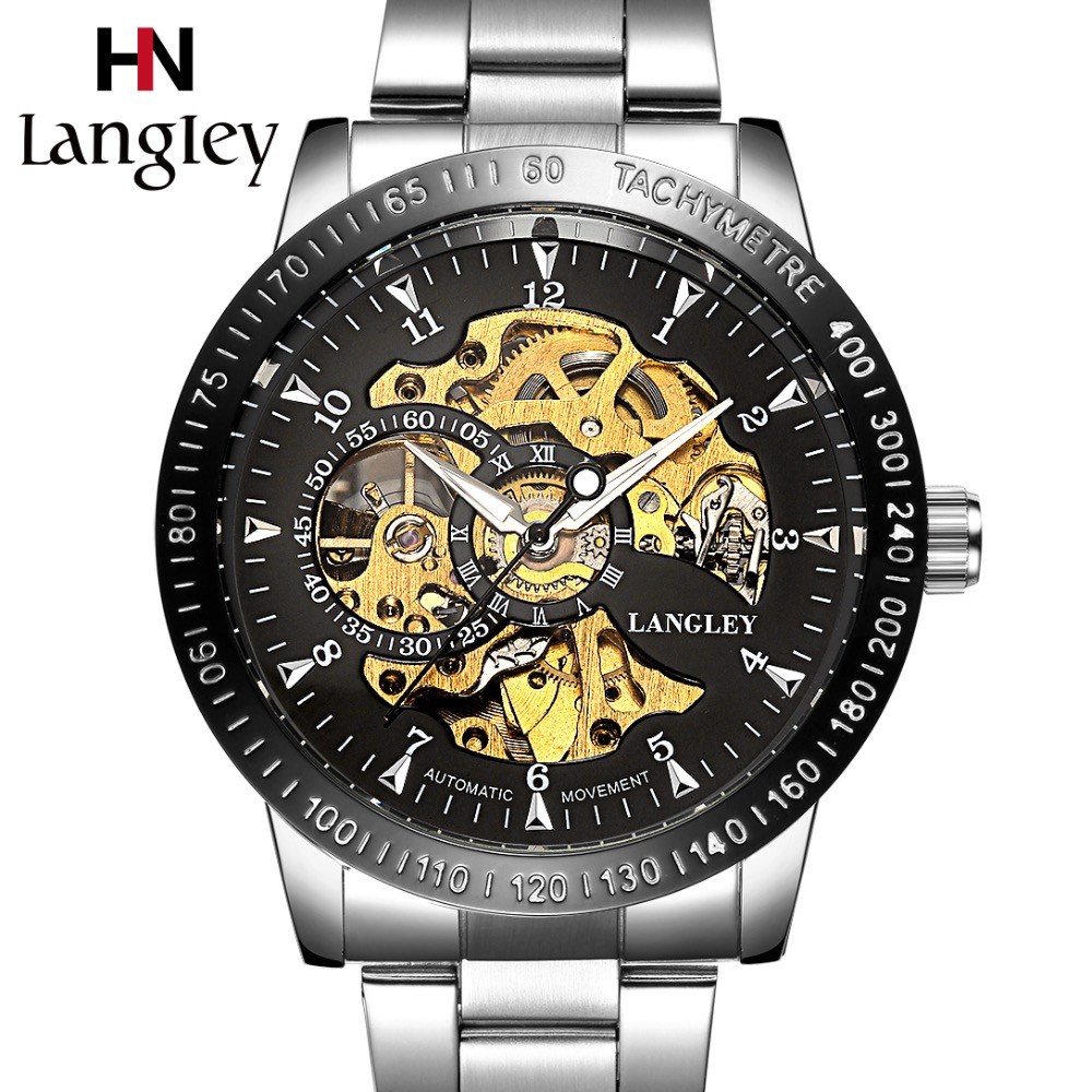 Automatic Mechanical Watches Skeleton Wristwatch Men Top Luxury Brand Stainless Steel Male Business Watch Fashion Classic