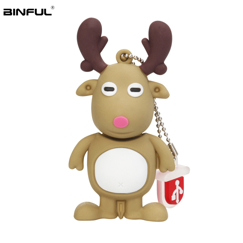 Flash Memory Stick 32GB Usb 2.0 Cute Cartoon Elk Santa Claus Gift Usb Flash Drive 128GB 64GB 16GB 8GB 4GB Pen Drive Thumbdrives-in USB Flash Drives from Computer & Office