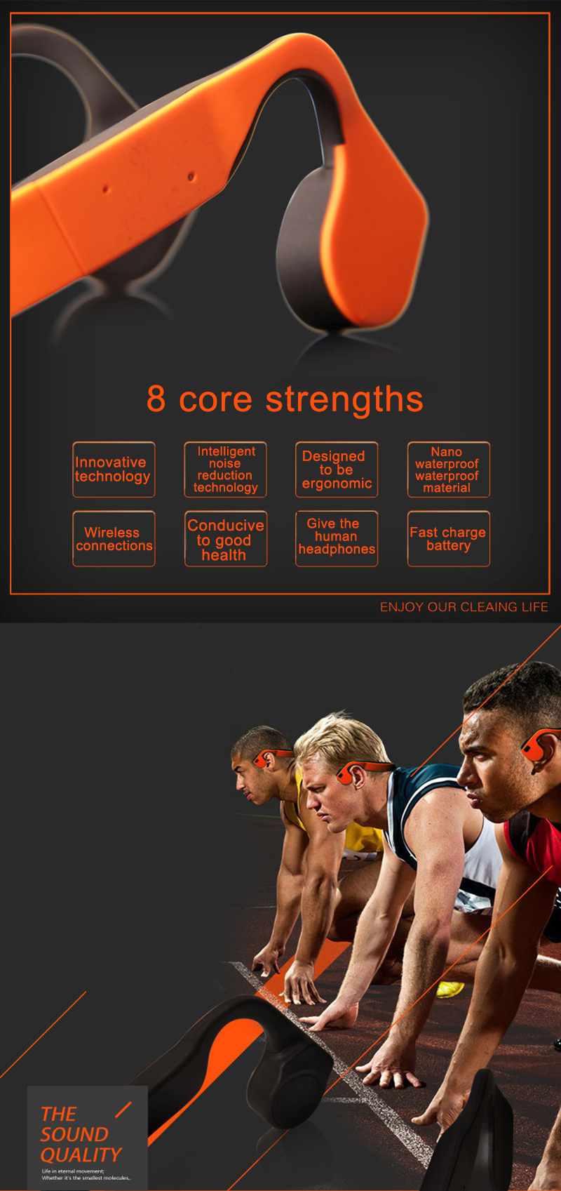 Bone Conduction Stereo Wireless Bluetooth Headphones waterproof sports Hifi headsets with microphone Support Hands Free Call  (16)