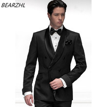 double breasted tuxedo for wedding suits black custom made suit groom dress for 2017 summer men