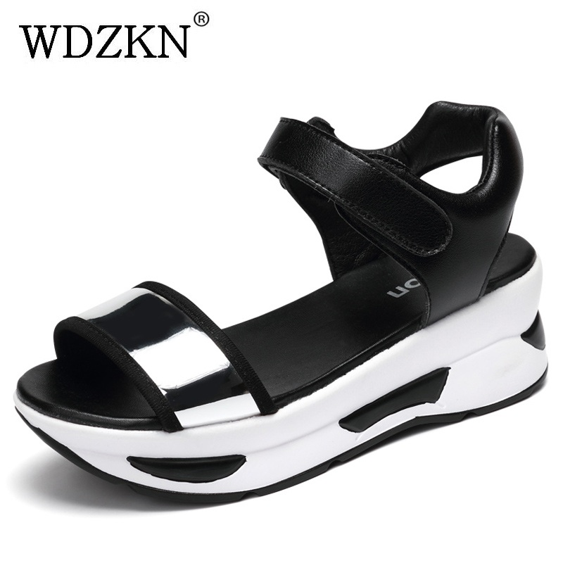 WDZKN New Women Sandals Summer Female Casual Shoes Flat Platform Sandals Thick Bottom PU Leather Wedge Sandals Size 35-40 H8808