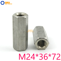 2 Pieces M24*36*72mm Hex Rod Coupling Nut 304 Stainless Steel