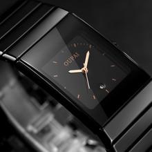 2018 новые модные простые мужские водонепроницаемые светящиеся часы повседневные кварцевые часы мужские прямоугольные черные керамические наручные часы Zegarki Meskie