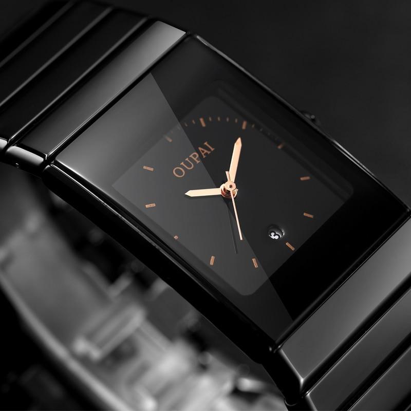 2018 nouveau mode Simple hommes montre étanche lumineux décontracté Quartz Watche hommes Rectangle noir en céramique montre-bracelet Zegarki Meskie