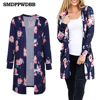 SMDPPWDBB Women Casual Cardigan Autumn Long Sleeve Long Female Thin Sweater Loose Ladies Coat Slim Elegant