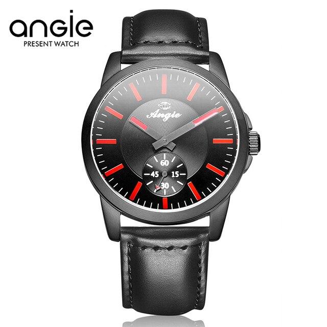 2017 Nueva ANGIE Marca Gran Dial Reloj Del Amante de Pulsera de Alta Calidad Mujeres Hombres Llenos de Acero Negro Relojes de Cuero