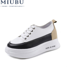 MIUBU Women Sneakers Casual Shoes Mixed-Color Lace-Up Girls Increase Hard-Wearing Platform