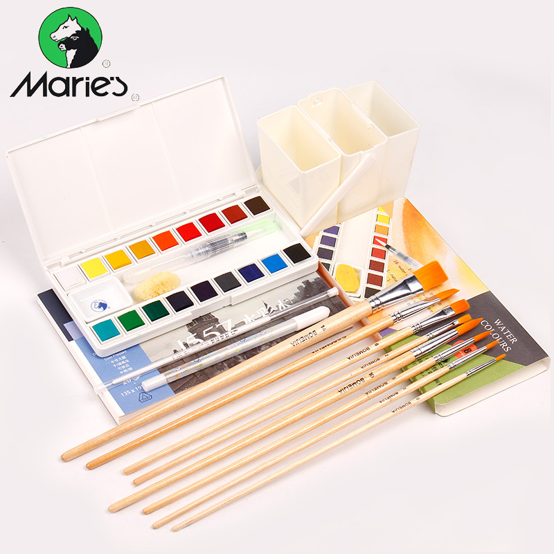 Marie's 18/36Colors Solid Watercolor Painting Set With Water Brush Transparent Watercolor Pigment School Student Artist Supplies