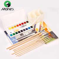 Set de 18/36 colores de pintura de acuarela sólida de Marie con pincel de agua transparente pigmento de acuarela escuela estudiante arte suministros