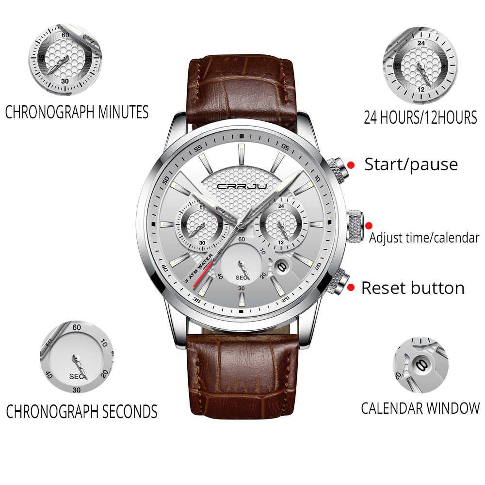 ساعة كوارتز CRRJU جديدة فاخرة للرجال في الهواء الطلق ساعات رجالي ساعات رياضية كرونوجراف ساعة يد ساعة جلدية