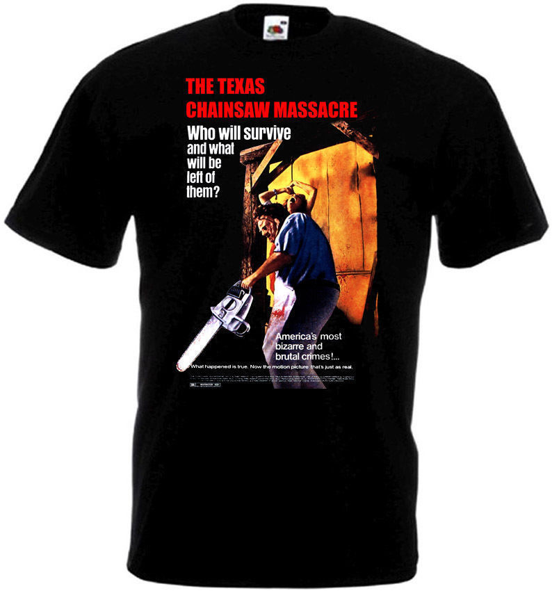 The Texas Chain Saw Massacre  T shirt black movie poster all sizes S-3XL Man Print T-Shirt Hipster top tee