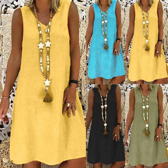 81f9094a5 Fashsiualy النساء الصيف نمط Feminino Vestido V الرقبة أكمام القطن عارضة  زائد حجم السيدات البوهيمي اللباس
