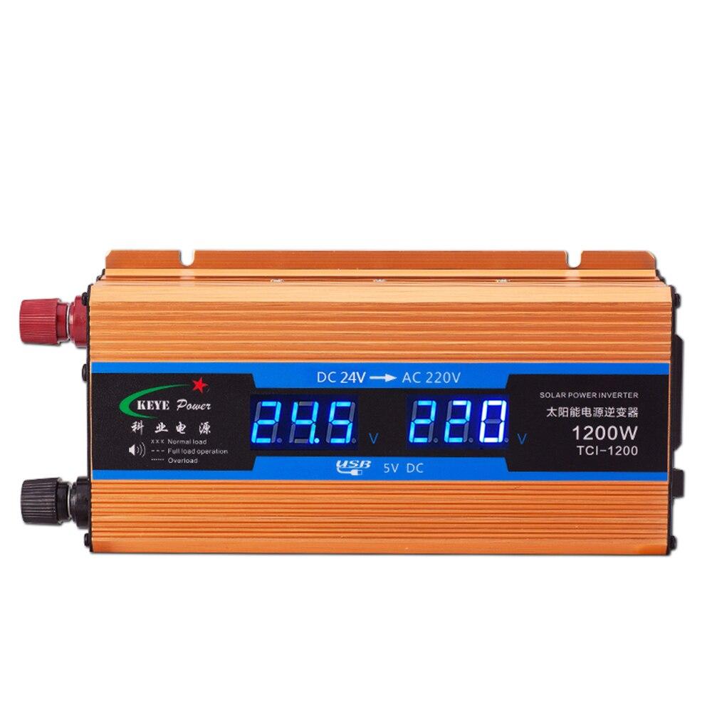 Inversor do carro 1200W 24 V 220 V 24v a 220v Carregador de Carro Conversor de Voltagem Volts de Saída de exibição 50Hz DH406