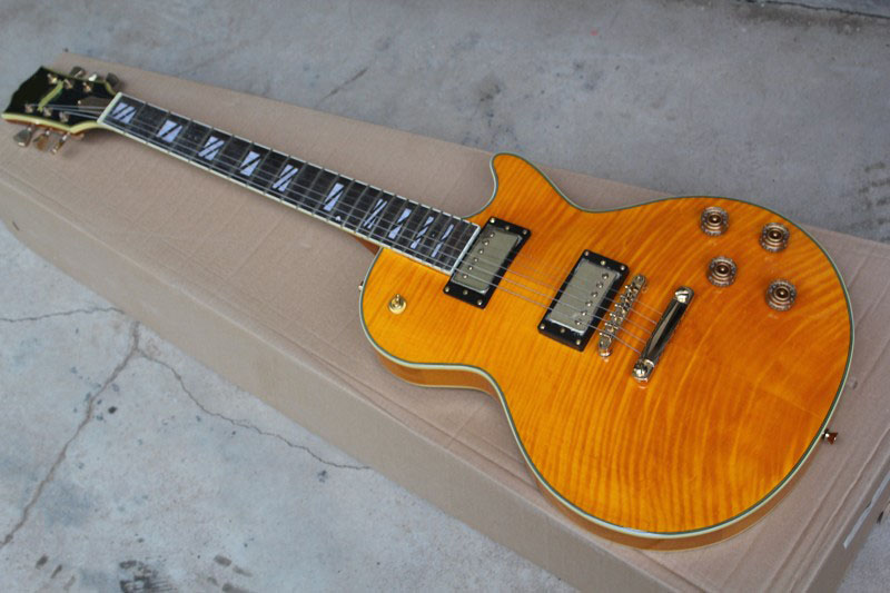 Chinese Guitars G LP SUPREME MODEL FRETSIDE BINDING ONE PIECE NECK BIGSBY BEER ROOT Electric Guitar with hardcase
