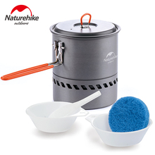Naturehike 1.5L Heat Exchanger Camping Kettle Folding Soup Pot Picnic Cookware Outdoor Bowl and Spoon Lightweight