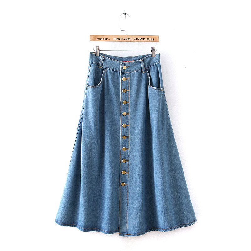 Long Jeans Skirt Women 2016 Ladies Denim Skirts Long Length With ...
