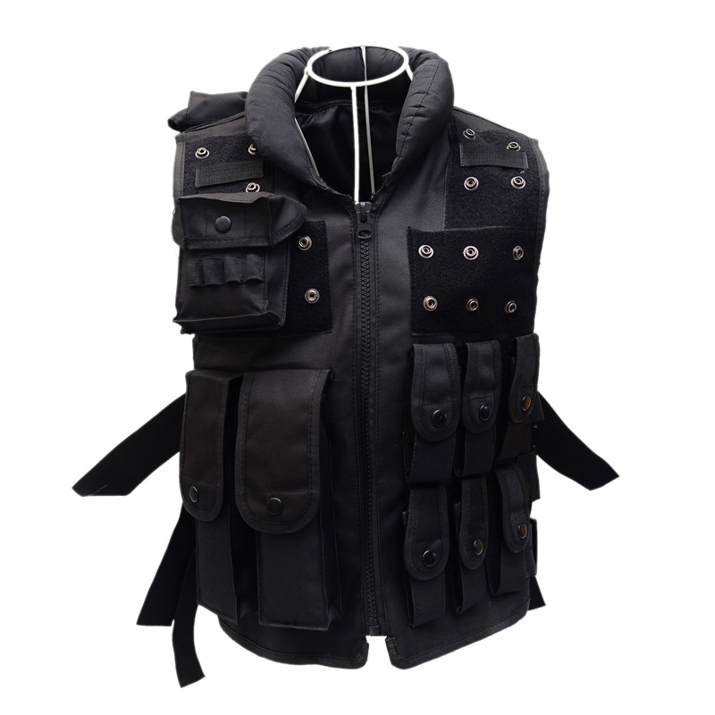 2017 new tactical hunting vest outdoor live CS field protective equipment security tactical vest US black riding security vest c tactical skull masks cs full face mask metal mesh eye shield halloween airsoft hunting field equipment