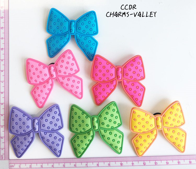 CCOR 30PCS PVC Cute Bowknot Shoe Charms Fit Kids Cross Shoes, Cross Bracelets, Shoe Accessories, Children gift
