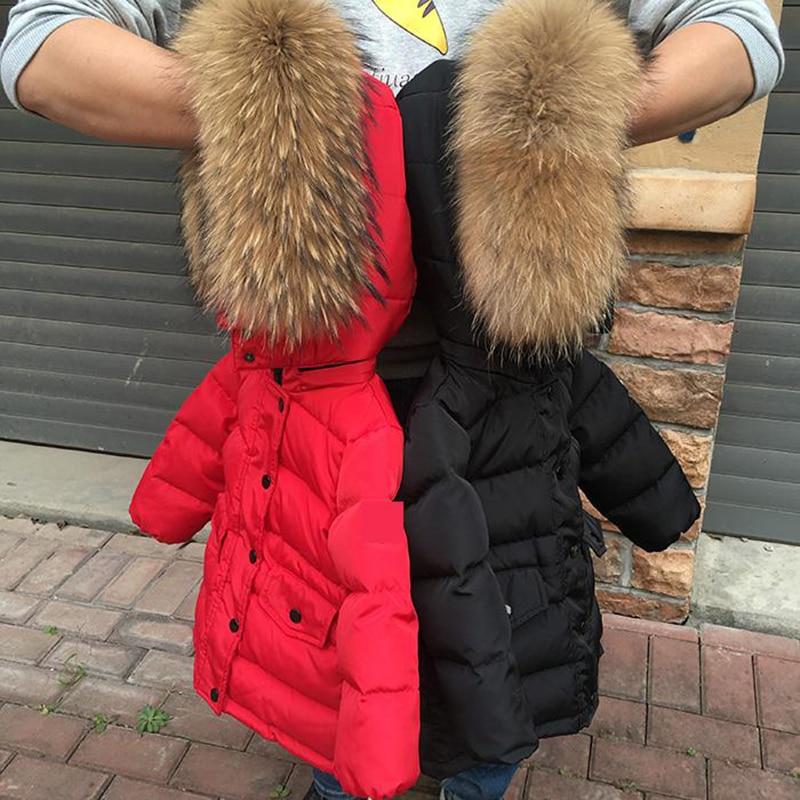 -20 Grad Russland Winter Kleidung Kinder Warme 90% Weiße Ente Unten Mäntel Jungen Mädchen Hoodie Große Natur Pelz Schneeanzug Winter Parka