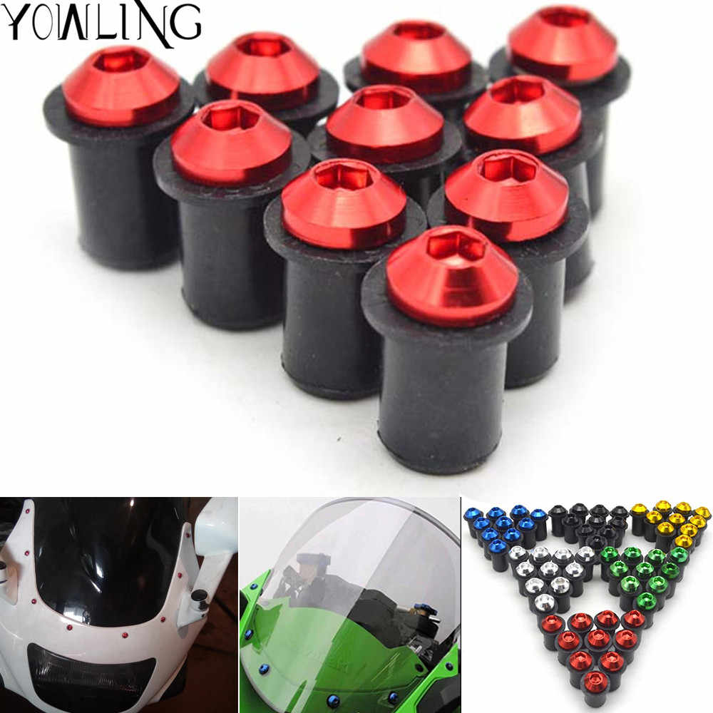 5PCS Universal Fairing Wind Screen Screw Bolt Kit Windshield Mounting Nut Wellnut For HONDA CBR600RR CBR 600 RR mt 07 09 MT-10