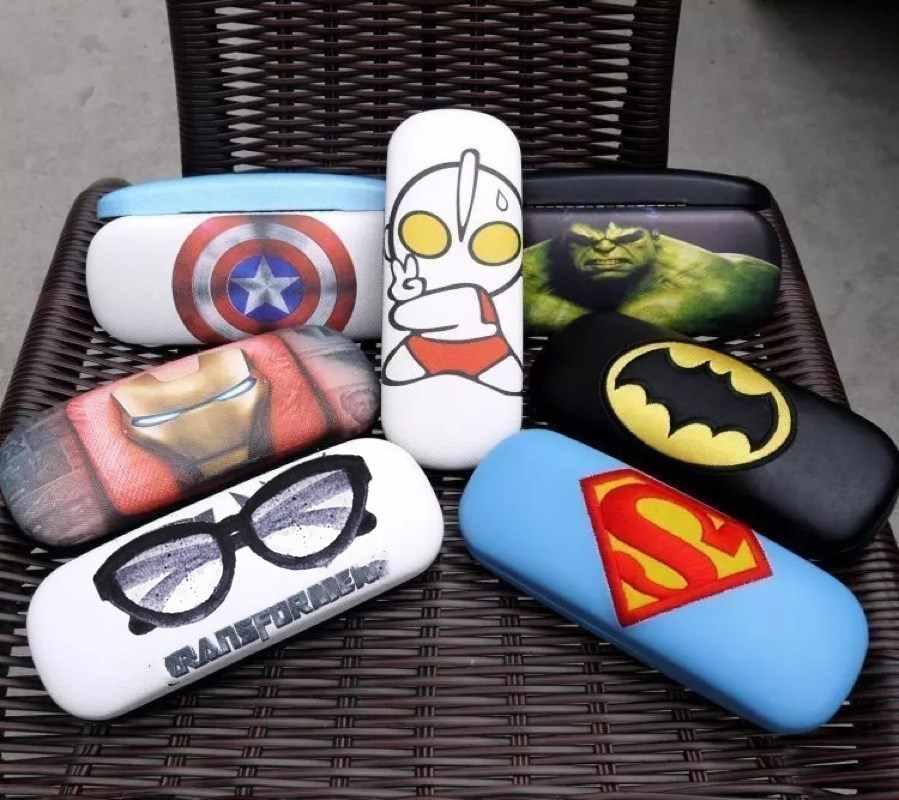 Novo o capitão superman spider-man caso óculos de miopia moda dos desenhos animados estudante caixa de óculos de couro portátil caso