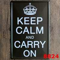 Keep Calm and Carry on Vintage Metal Tin Signs Poster Home Pub Bar Decor 20x30CM