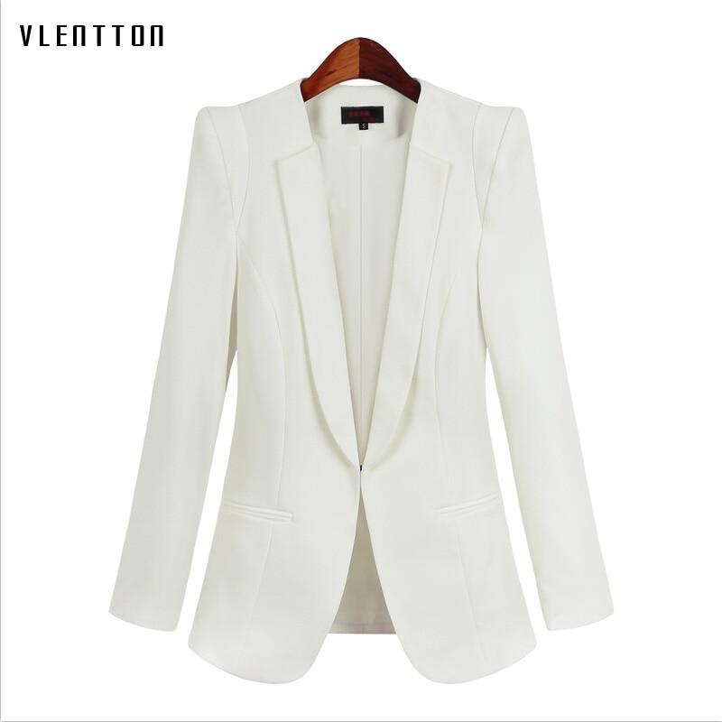 Плюс Размеры 5XL Для женщин пиджак 2019 Новый Демисезонный с длинным рукавом белый блейзер для Для женщин офисные