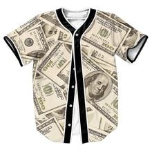 Счета Джерси мужские рубашки overshirt 3D печати уличная панк топы с Однобортный летние топы бейсбольная рубашка