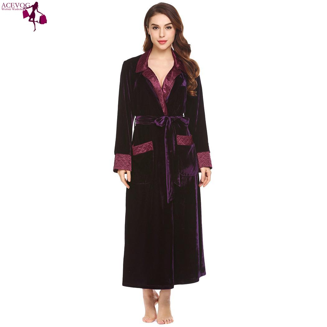 ACEVOG Down Fashion women love cute Casual Long Turn Belt Collar Sleeve Velvet with New Robe Pocket Women Patchwork