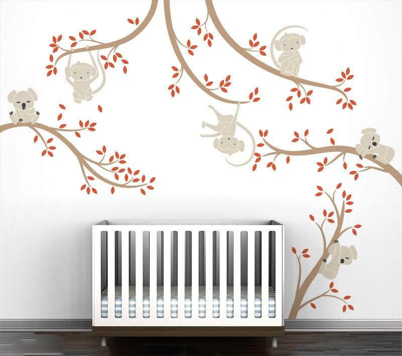 Обезьяна и Коала на ветках дерева стикер на стену домашние детские декорации Природа Дерево художественная роспись детская комната настен... - 3