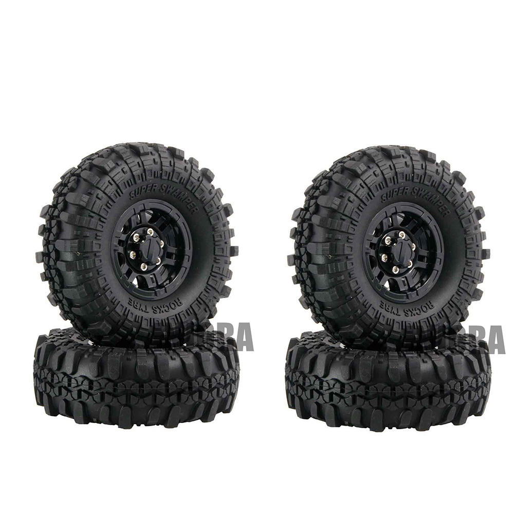 4PCS 1.9 Rubber Wheel Tires & Plastic Beadlock Wheel Rim for 1:10 RC Rock Crawler Axial SCX10 90046 Tamiya CC01 D90 D110 4pcs red metal 1 9 beadlock wheel rim for 1 10 rc crawler axial scx10 90046 90047 tamiya cc01 rc4wd d90 d110 rc car wheel hub