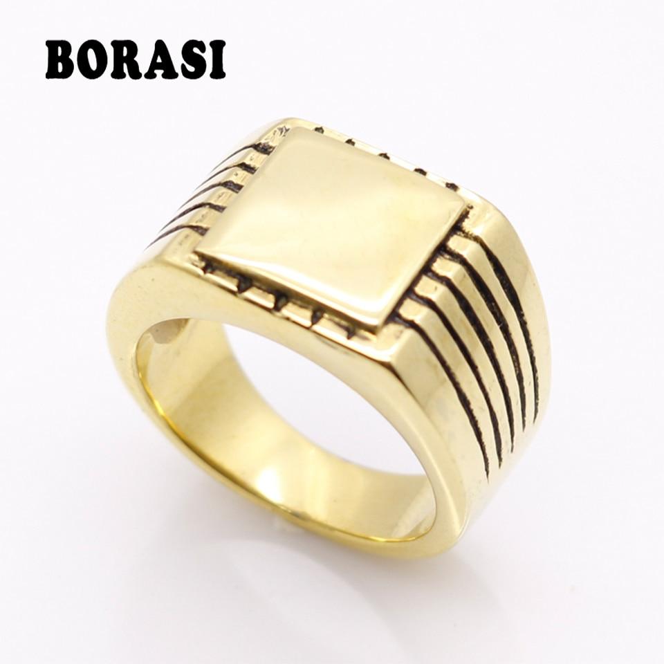 Fijne sieraden Heren hooggepolijst zegel Massief roestvrij staal Ring 316L roestvrij staal Biker Ring voor mannen goud kleur sieraden