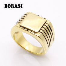 Fine Jewelry Men's High Polished Signet Solid Stainless Steel Ring 316L Stainless Steel Biker Ring For Men 18K Gold Jewelry wholesale men s high polished signet solid stainless steel man ring 316l stainless steel biker ring for men