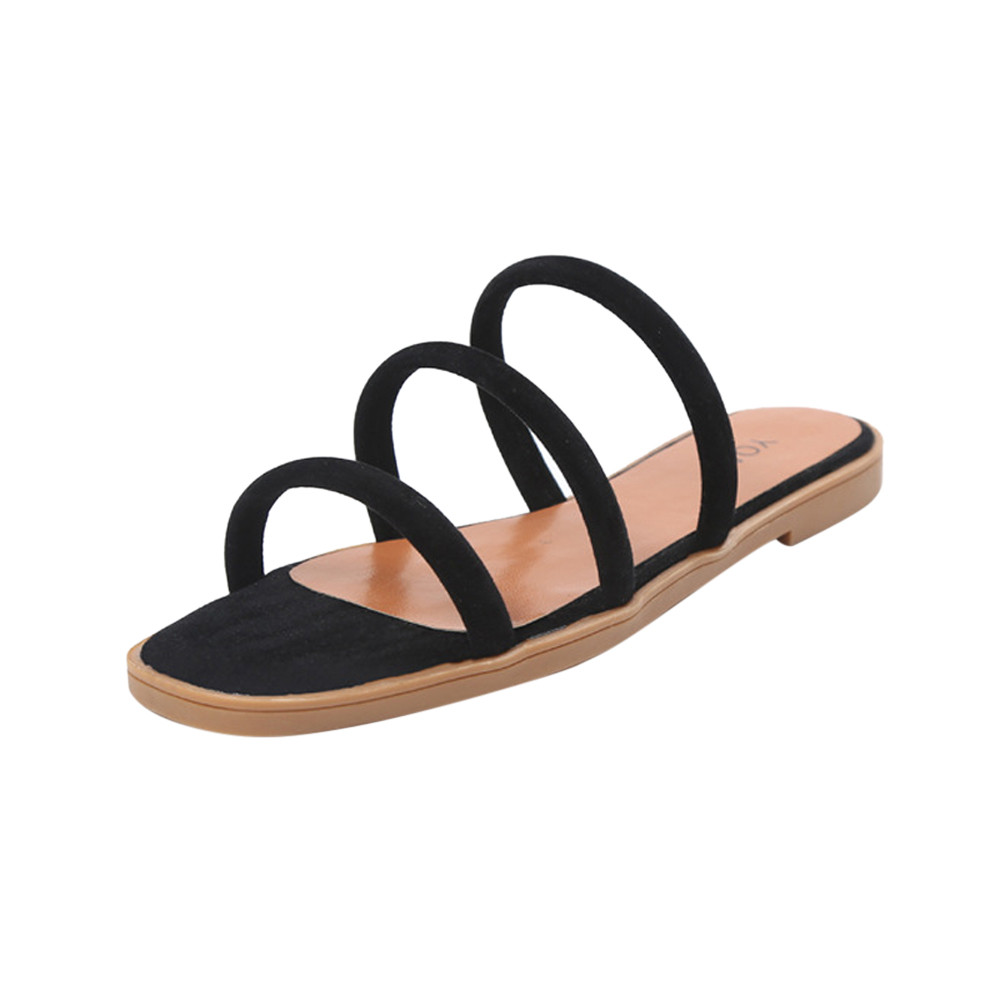 Women Solid Color Rome Style beach slippers for women summer shoes hollow out flats sandals female beach slides 2018 punk style pure color hollow out ring for women