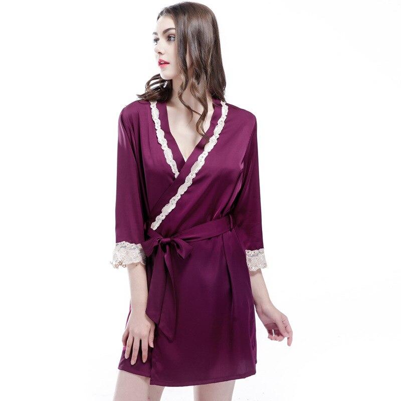 Free Shipping 2017 New Arrival Womens Nightwear Bathing Robes Fashion Sleepwear For Female High Quality Real Silk M L XL XXL