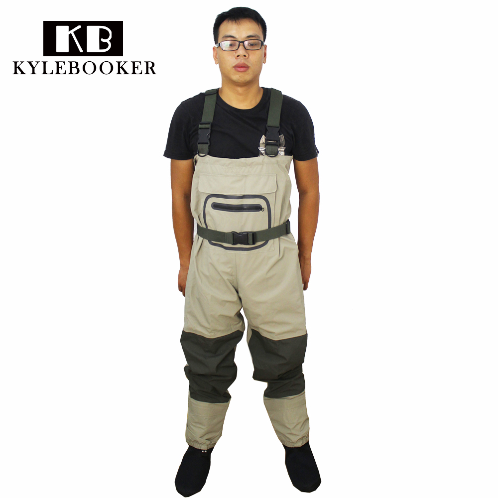 Fly fishing Chest Waders Rafting wear waterproof wader, wading pants overalls with Stocking Foot ...