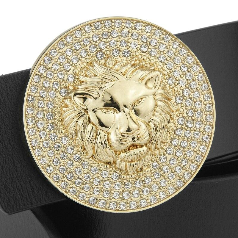 High Quality Round buckle lion belt men wide fashion Waist Strap luxury Cowskin Casual cowboy belts fancy vintage Rhinestone