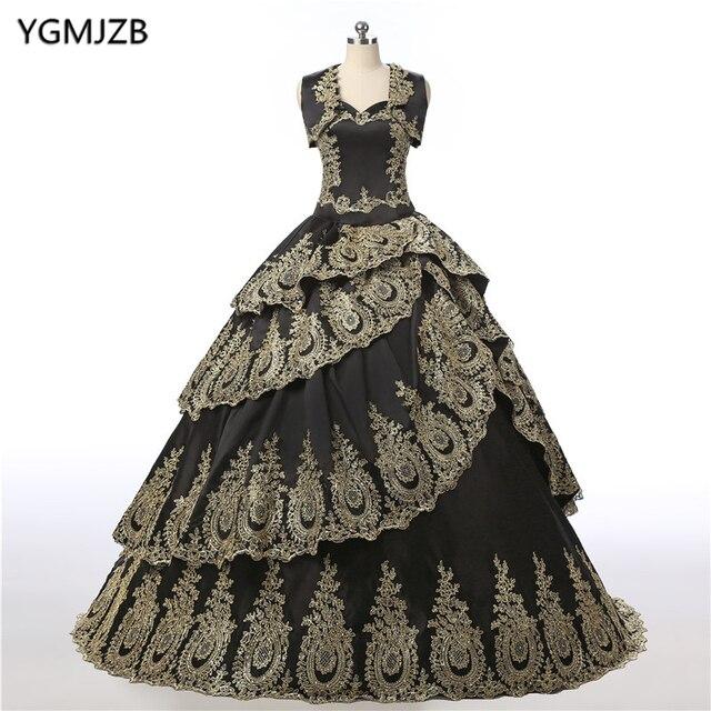 121291c0b Vintage Quinceanera Dresses 2018 Black Ball Gown Gold Appliques Lace ...