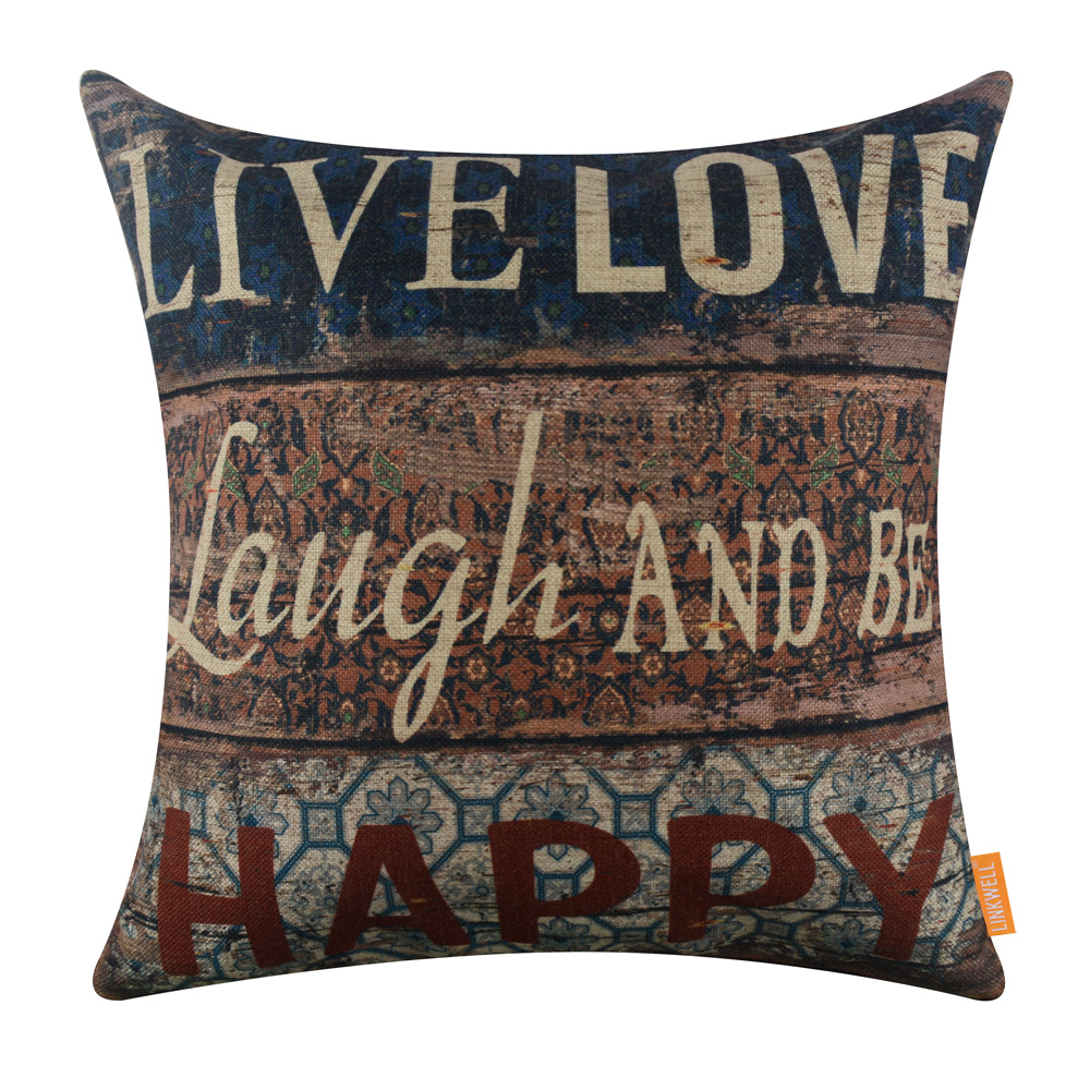 LINKWELL 45X45cm 1PC Sofa Home Words Live Love Laugh and to be Happy Monogram Throw Pillow Case Decorative Burlap Cushion Cover ...