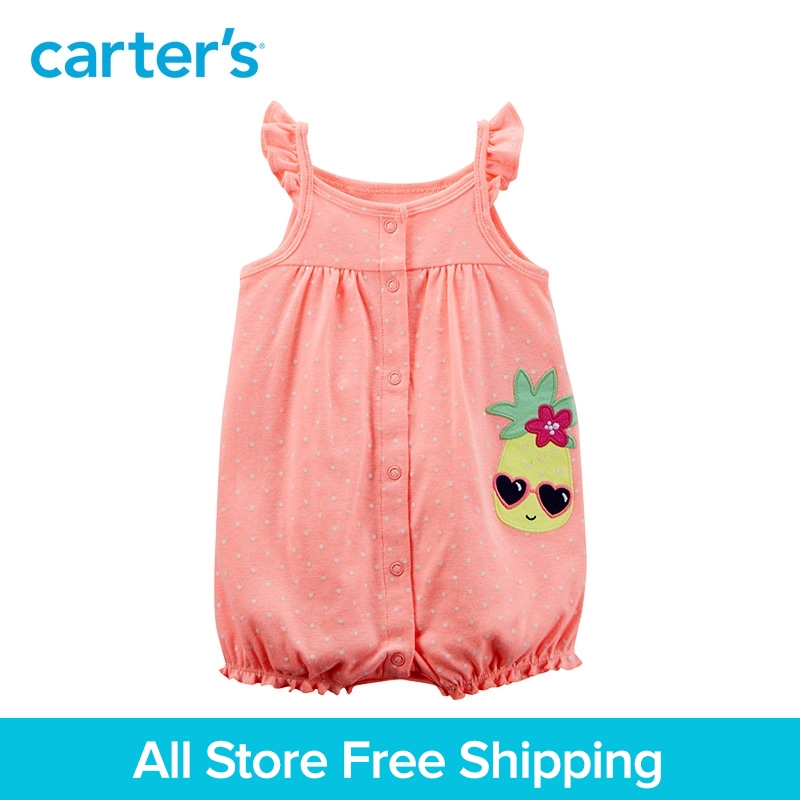 Carters 1-Piece baby children kids clothing Girl Summer Neon Pineapple Snap-Up Cotton Romper 118I284
